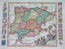 1730 Nice Original Map Spain Portugal Balearic Isl. Catalonia Valencia Barcelona