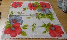 Vintage White Cotton Hankie w Red,Gray Poppies (32)
