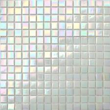 1 SQ M Iridescent White Vitreous Glass Mosaic Tiles Sheet Bathroom Bath (MT0131)