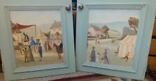 Handpainted Pine Cupboard Doors Victorian Fair Fete Village Scenes