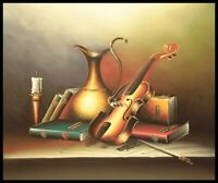 """24""""x20"""" Oil Painting on Canvas, Still Life with Violin, Genuine hand painted"""