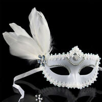 Sexy Fancy Dress Masquerade Costume Carnival Party Ball Mask White Feathers