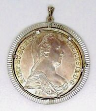 Theresia imp. Eagle Two heads Austria coin & MEDALLION Pendant sterling silver