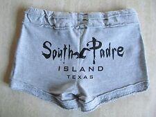 SOUTH PADRE ISLAND TEXAS Jr Ladies Sz M Short SWEAT SHORTS Gray 100% Cotton NWOT
