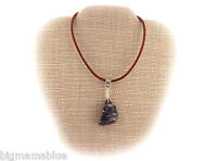 Boho Tribal BLACK Agate Wire Wrap Pendant Necklace A68-05 Leather Free Gift Box