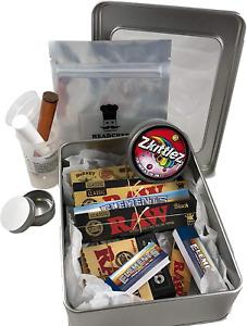 RAW Smokers Rolling Gift Tin Box Set - Smoking Hamper Kit - Window Lid Tin Unit