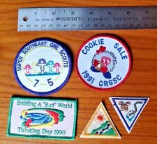 Vintage Girl Scouts Patch Lot: Thinking Day 1990, Cookie Sale 1991 CRGSC & more