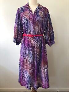 Tosol Fashion Styled David Vintage Retro 80s Abstract Paisley Print Long Dress