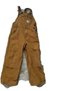 Carhartt Brown Bib Overalls Youth Boys 7 Pants EUC