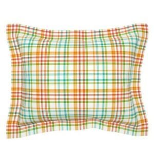 Multicolored Plaid Orange Aqua Yellow Red Green Apple Pillow Sham by Roostery