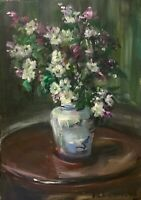 Print of Original oil painting art Vase roses Impressionism shabby chic decor:
