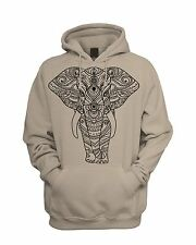 Tribal Indian Elephant Tattoo Men's Hoodie - Hooded Sweatshirt - Hipster Design