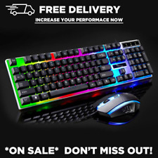 Gaming Keyboard and Mouse Set Rainbow LED Wired USB For PC  *On Sale*