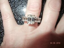 5.5ct. FOREVER ONE MOISSANITE  EMERALD-CUT BAND RING in 14k w/Certificate C/C