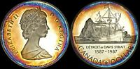 """1987 CANADA """"DAVIS STRAIT"""" SILVER DOLLAR HIGH QUALITY COLOR TONED COIN"""