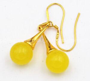 Beautiful 10mm Yellow Topaz Gemstone Dangle Gold Plated Hook Earrings
