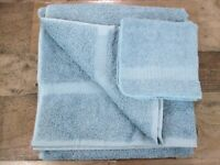 Sears New Traditions Bath Towel Washcloth Blue 100% Cotton Vintage 90s NOS