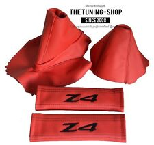 FITS BMW Z4 2003-08 RED LEATHER GEAR HANDBRAKE BOOT SEAT BELT COVERS EMBROIDERY