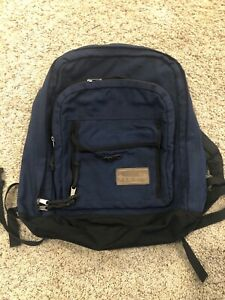 Vintage LL BEAN Navy Blue Daypack Backpack School Bag Waist Strap Made in USA