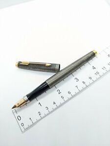 Vtg Parker 75 Sterling Silver fountain pen - xf 14k Gold nib - USA