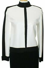 ST. JOHN Bright White Black Paillettes Bomber Wool Blend Knit Zip Jacket S