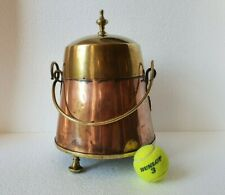 ANTIQUE DUTCH  COPPER AND BRASS DOOFPOT  WITH  SWING HANDLE