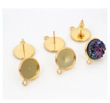 12mm Gold Round Post Studs Earrings Base Setting Cabochons Earring Blanks Trays