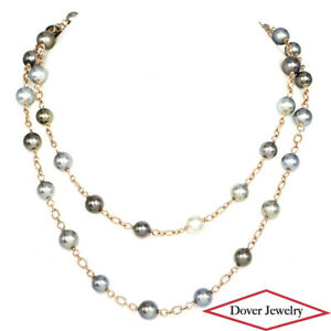 """Estate 9mm Tahitian Pearl 14K Gold 36"""" Long Chain Necklace 47.3 Grams NR"""