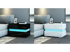 Modern Bedside Table Cabinet Nightstand w/2 Drawer Black White RGB LED Light