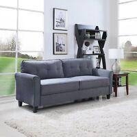 Classic Ultra Modern Couch Brush Microfiber Fabric Living Room Sofa (Dark Grey)