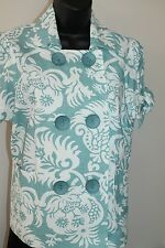 3 Sisters Jacket S (2-4) Ocean Linen Blend Short Sleeve w Ties Top USA Made 1491