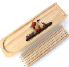 CAT PENCIL BOX CASE +6 COLOURED PENCILS.  HANDMADE IN NATURAL WOOD FAIRTRADE