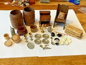 MIXED LOT OF TUDOR , MEDIEVAL STYLE ACCESSORIES  FOR A 1/12  SCALE DOLLS HOUSE