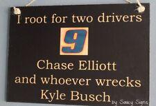 Chase Elliott wrecks Kyle Busch Rare Driver Sign Racing Bar Man Cave Daytona
