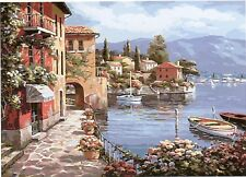 BAY WITH BOAT VISTA PAINTING PAINT BY NUMBERS CANVAS KIT 20 x 16 ins FRAMELESS