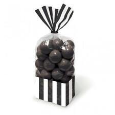 Candy Buffet Black Striped Cello Treat Bags & Twist Ties x 10