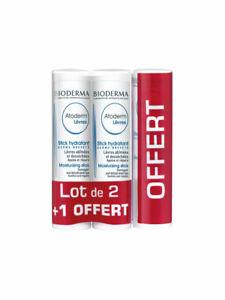 New! Bioderma Atoderm Moisturizing Lip Balm Stick Set of 3
