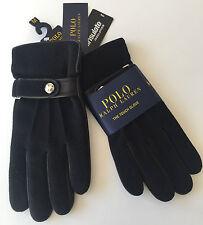 RALPH LAUREN TECH friendly laine noire & gants en cuir avec thinsulate taille m