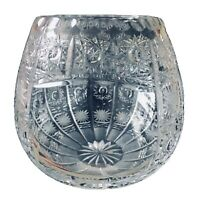 """BOHEMIAN HAND CUT CZECH CRYSTAL ROUND VASE 6"""" QUEENE LACE"""