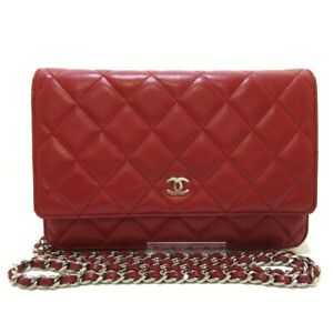 Auth CHANEL Matelasse A33814 Red Lambskin Other Style Wallet