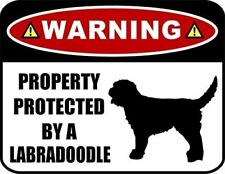 Warning Property Protected by a Labradoodle (SILHOUETTE) Laminated Dog Sign