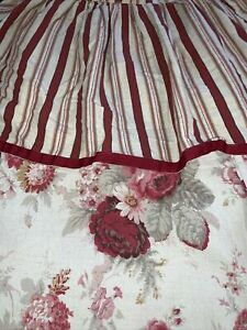 Waverly Norfolk Rose Shower Curtain Floral/Stripe Tiered/Ruffled Shabby Chic EUC