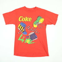 Vtg 80s 90s Coke Life T-shirt size SMALL Red Single Stitch Checkered Vaporwave