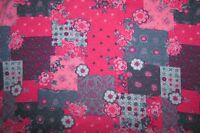 Baumwolljersey mit Blumen Patchwork pink bunt  Stenzo  50x140cm Neu