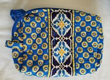 Vera Bradley Riviera Blue Lined Zip Zipper Coin Cosmetic Bag Blue Yellow Floral