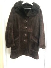 """Vintage Genuine Leather Faux Fur Shearling Coat Unisex Size 16 Or 40"""" Chest"""