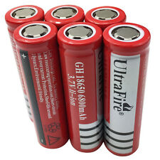 6X18650 Batteries 6800mAh 3.7V Rechargeable Li-ion Flat Top Battery Flashlight