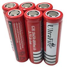 6X 18650 Batteries 6800mAh 3.7V Rechargeable Li-ion Flat Top Battery Flashlight