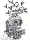 ORIGINAL TanDoll Art Stippling Pen Drawing Skull and Roses Surreal Life Artwork
