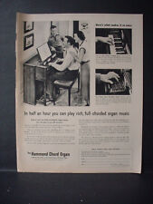 1953 Hammond Chord Organ Family Music Play Rich Vintage Print Ad 11155
